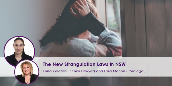 New Strangulation Laws in NSW