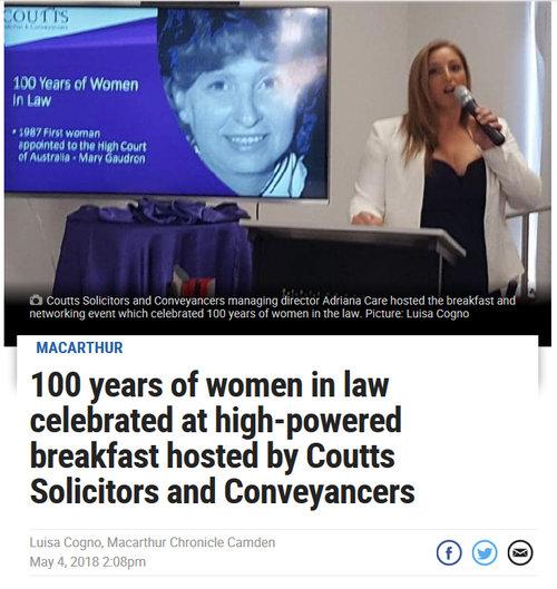 100 Years Women In Law Daily Tele