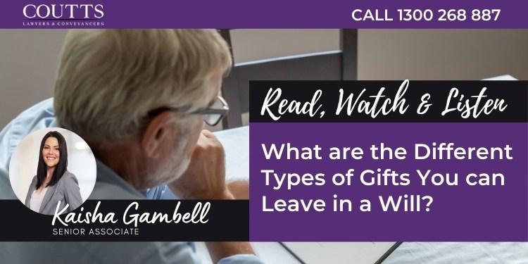 Types of gifts you can leave in a Will