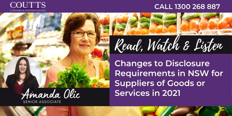 Changes to disclosure requirements in NSW for suppliers of goods or services in 2021