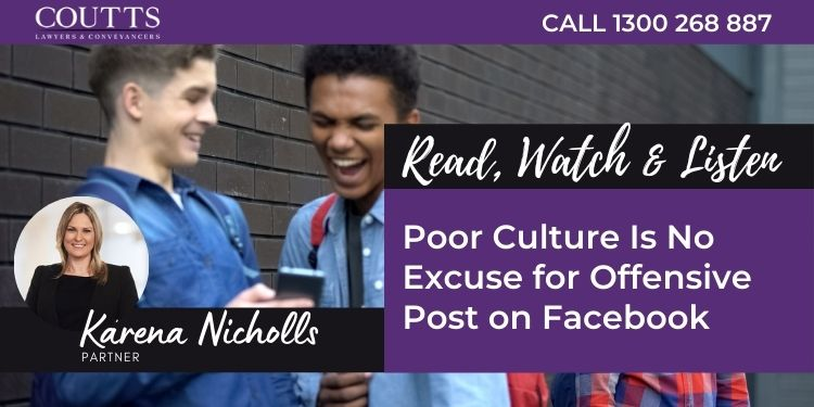 Poor Culture Is No Excuse for Offensive Post on Facebook