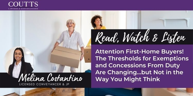 Attention First-Home Buyers! The Thresholds