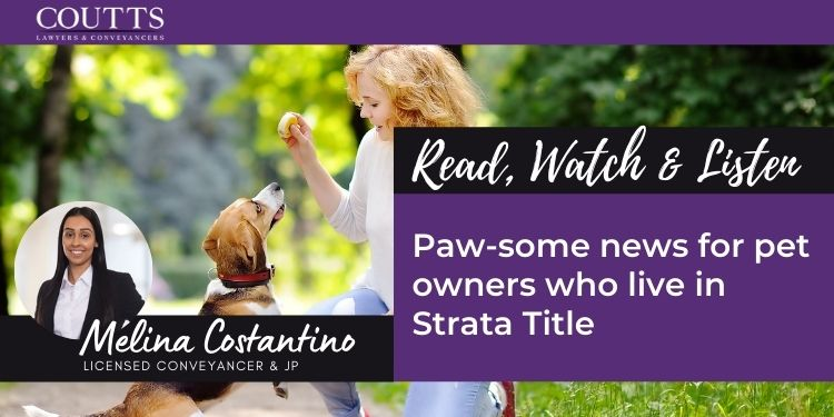 Paw-some news for pet owners who live in Strata Title