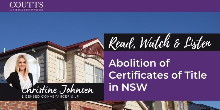 abolition of certificates of title in nsw